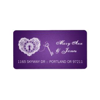 Elegant Wedding Address Key To My Heart Purple Label