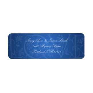 Elegant Wedding Address Love Flourish Blue Labels