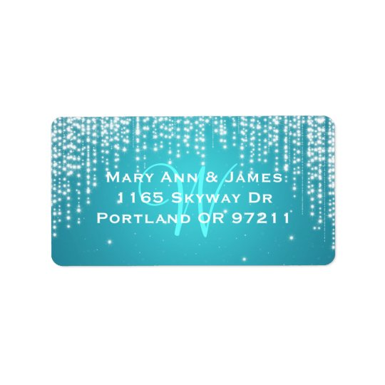 Elegant Wedding Address Night Dazzle Blue Label