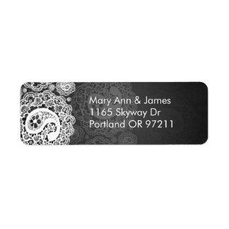 Elegant Wedding Address Paisley Lace Black Labels