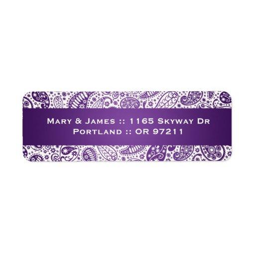 Elegant Wedding Address Paisley Pattern Purple Labels