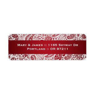 Elegant Wedding Address Paisley Pattern Red Label