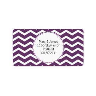 Elegant Wedding Address Purple Chevron Pattern Label