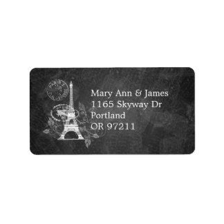 Elegant Wedding Address Romantic Paris Black Custom Address Labels