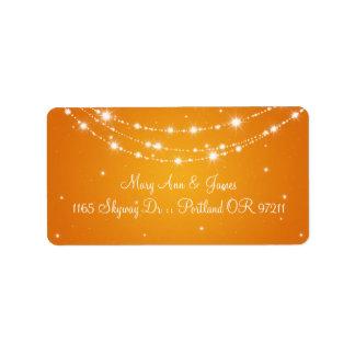 Elegant Wedding Address Sparkling Chain Orange Personalized Address Label