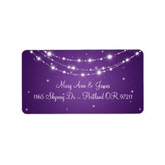 Elegant Wedding Address Sparkling Chain Purple Address Label