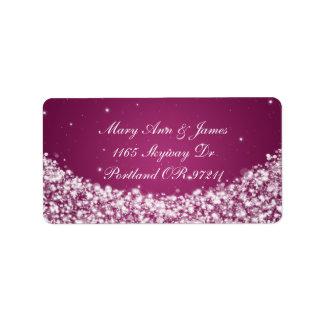 Elegant Wedding Address Star Sparkle Berry Pink Label