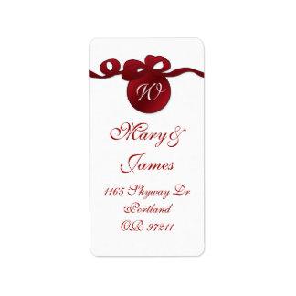 Elegant Wedding Address Swirly Bow Monogram Red Label