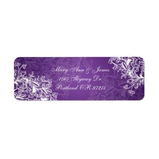 Elegant Wedding Address Vintage Swirls  Purple Custom Return Address Label