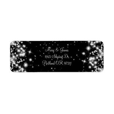 Elegant Wedding Address Winter Sparkle Black label