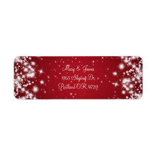 Elegant Wedding Address Winter Sparkle Red Label