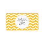Elegant Wedding Address Yellow Chevron Pattern Personalized Address Label