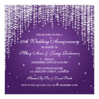 Elegant Wedding Anniversary Night Dazzle Purple Card