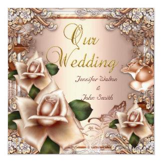 Elegant Wedding Beige Cream Gold Rose Invitation