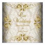 Elegant Wedding Beige Gold Damask Card