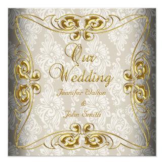Elegant Wedding Beige Gold Damask 5.25x5.25 Square Paper Invitation Card