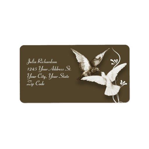 elegant wedding birds address labels