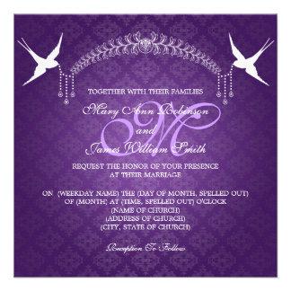 Elegant Wedding Birds Monogram Purple Personalized Announcement
