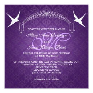 Elegant Wedding Birds Monogram Purple 5.25x5.25 Square Paper Invitation Card