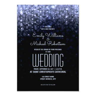 Elegant wedding Blue lights bokeh background Card