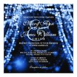Elegant Wedding Blue String Lights Card