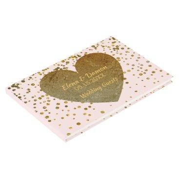 Bride Themed Elegant Wedding   Blush Pink Gold Heart Confetti Guest Book