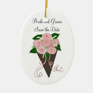 Elegant Wedding Bouquet Save the Date Ceramic Ornament