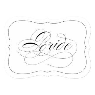 Elegant Wedding Bride Sign Die Cut Black Border Card