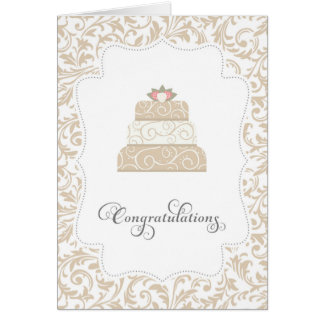Elegant Wedding Cake Congratulations Card