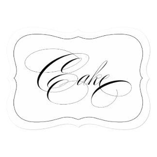 Elegant Wedding Cake Sign Die Cut Black Border Card