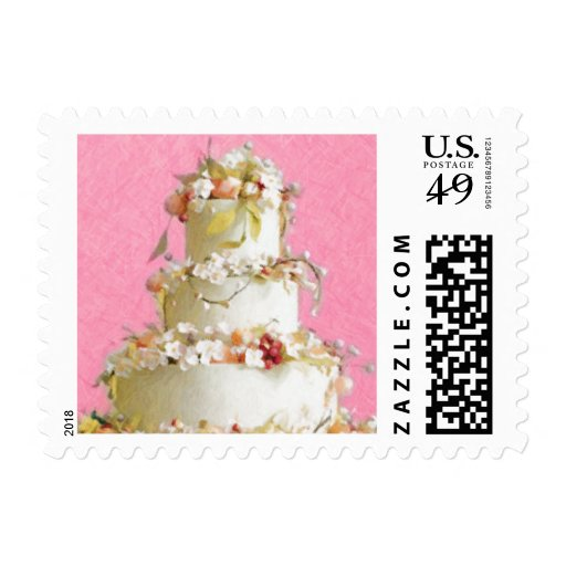 Elegant Wedding Cake Stamp Zazzle