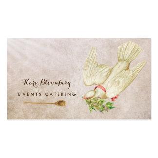 Elegant Wedding Caterer Vintage Dove With Herbs Business Card