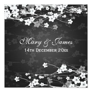 Elegant Wedding Cherry Blossom Black Card
