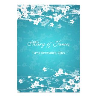 Elegant Wedding Cherry Blossom Blue Invitation