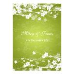 Elegant Wedding Cherry Blossom Lime Green Announcements