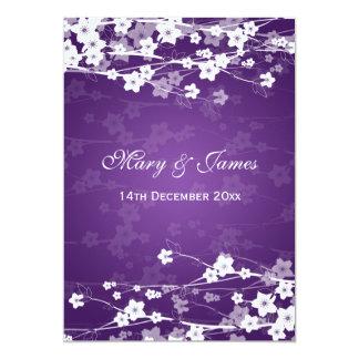 Elegant Wedding Cherry Blossom Purple Card