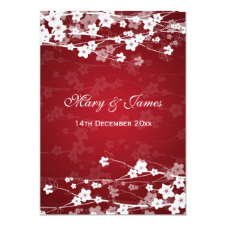 Elegant Wedding Cherry Blossom Red Card