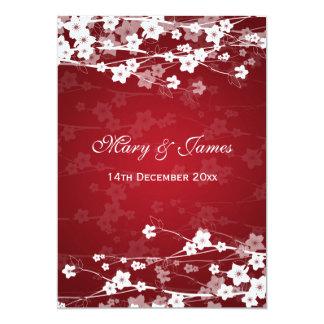 Elegant Wedding Cherry Blossom Red Card