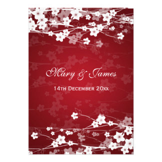 Elegant Wedding Cherry Blossom Red Announcement