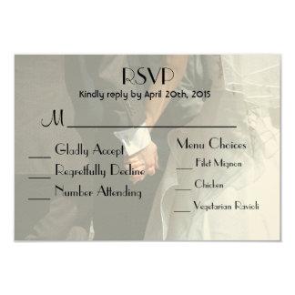 Elegant Wedding Couple Holding Hands RSVP Card