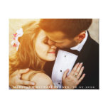 Elegant Wedding Couple Photo Keepsake Canvas Print<br><div class='desc'>Girly-Girl-Graphics at Zazzle: Beautiful Modern Trendy Stylish Customizable Wedding Couple Photo Luxury Wrapped Canvas to Personalize with Your Favorite Newly-Wed Bride and Groom Photo Keepsake, Names, and Wedding Date makes a Uniquely Chic Addition to that Most Special of All Days, Your Wedding and the Happily-Ever-After Memories You Share with Your...</div>