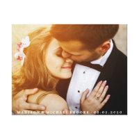 Elegant Wedding Couple Photo Keepsake Canvas Print
