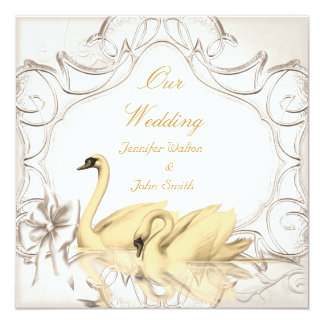 Elegant Wedding Cream Gold White Swans Bow Set Card