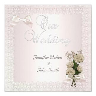 Elegant Wedding Cream Pink Lace Bow Rose Card