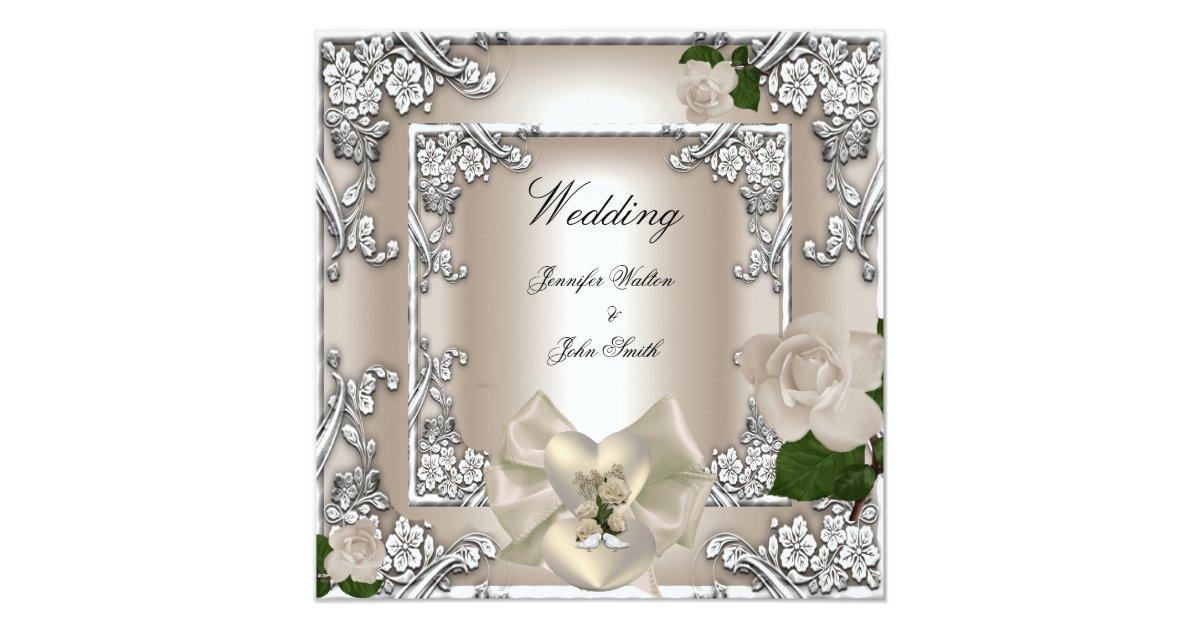 Silver Wedding Gift Experiences : Elegant Wedding Cream Rose Silver White Card Zazzle