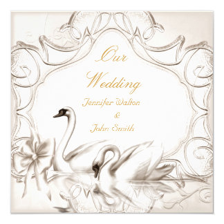 Elegant Wedding Cream White Swans Bow Set Card
