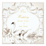 Elegant Wedding Cream White Swans Bow Set Invites
