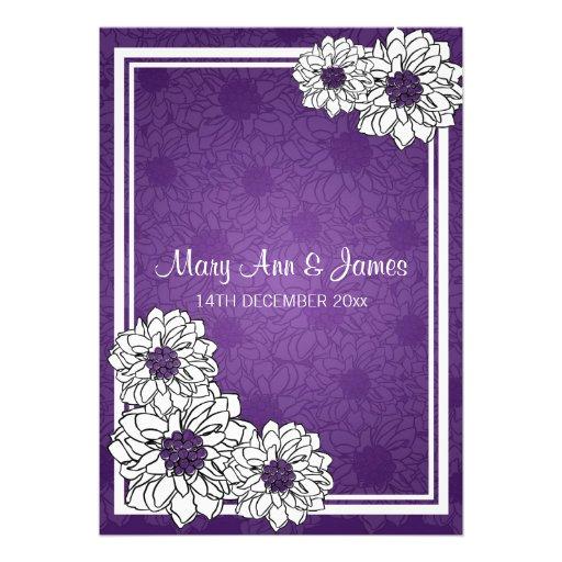 Elegant Wedding Dahlia Floral Purple Announcements