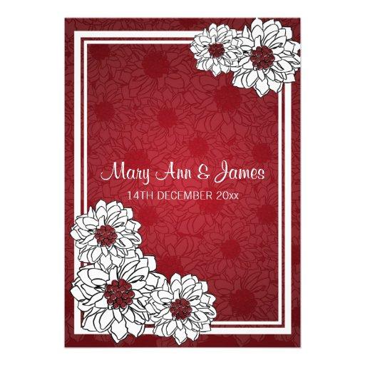 Elegant Wedding Dahlia Floral Red Invitation