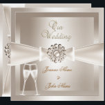 """Elegant Wedding Damask Cream White Champagne Card<br><div class=""""desc"""">Champagne Elegant Wedding Damask Cream White Silver Bow Images Set Elegant Wedding Bow Invitations traditional wedding Wedding Sets  PLEASE NOTE Bows are Images. Not suitable for Silver paper!!</div>"""